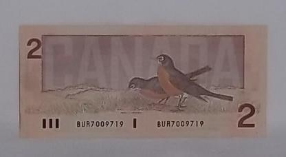 1986 Canada (2) dollar bill