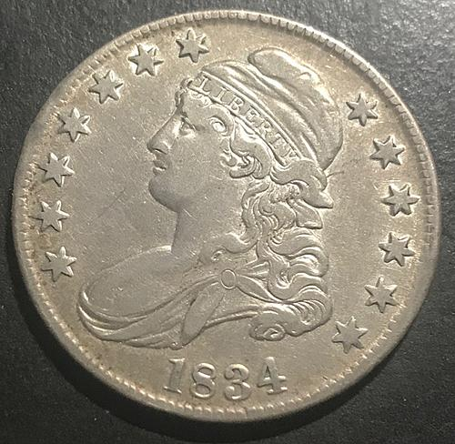 1834 Capped Bust Half Dollars : Small Date, Small Letters, Small Stars Letters V