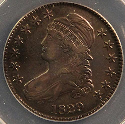1829 Capped Bust Half Dollars : Normal Date - Small Letters Lettered Edge (4 pho