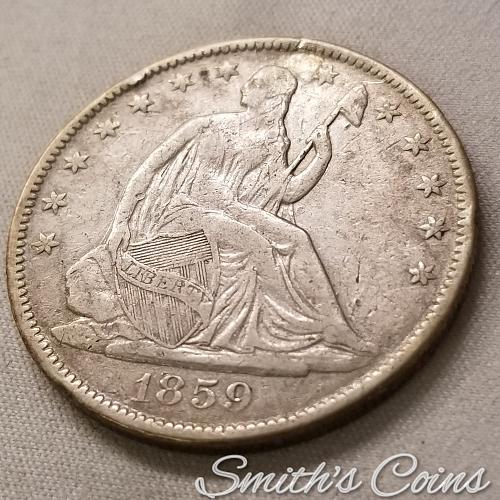 1859 O ~ Seated Liberty Half Dollar ~ VF (Holed & Plugged)