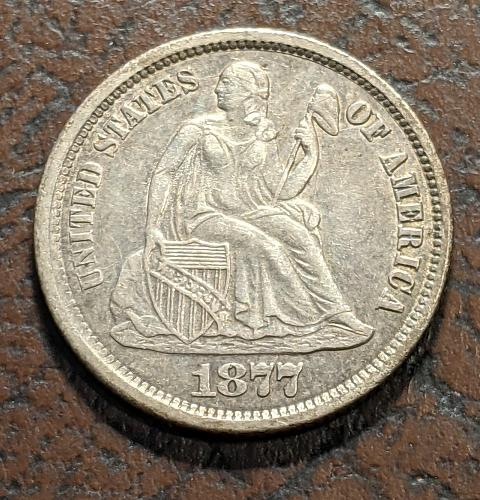 1877CC XF++ SEATED LIBERTY DIME