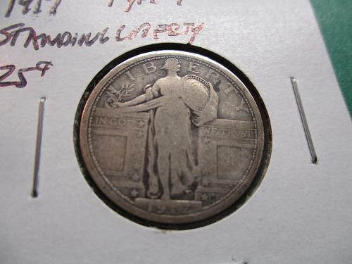 1917 Type 1  VG10 Standing Liberty Quarter.  Item: 25 ST17T1-06.