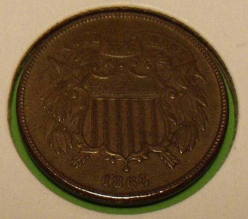 1865 2 Cents  AU55  #2-1865-1