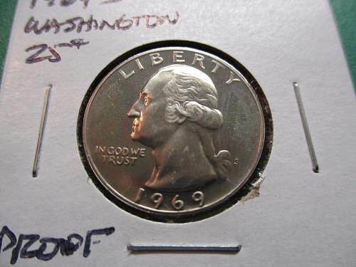 1969-S  Proof Washington Quarter.  Item: 25 W69S-01.
