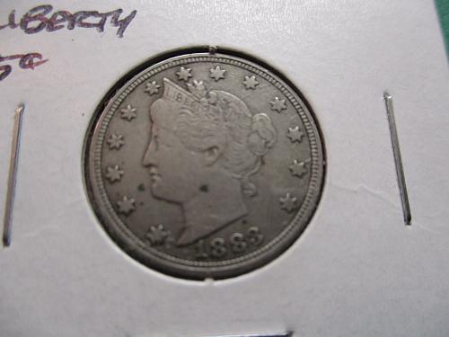 1883 No Cents  F15 Liberty Nickel.  Item: 5 L83N-11.