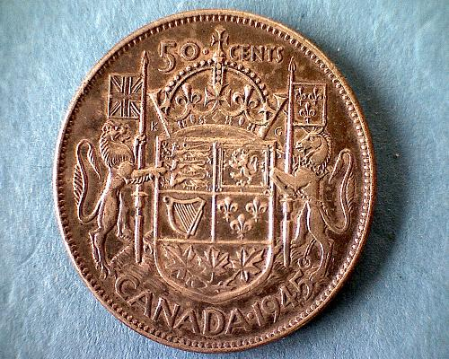 """1945 CANADA FIFTY CENTS KING GEORGE V1  """"WORLD WAR 11""""   """"SILVER"""""""