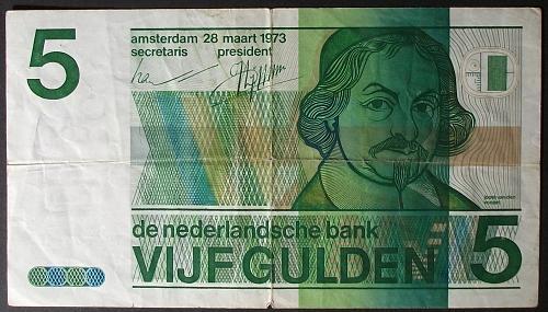 Netherlands P95a 5 Gulden Fine+