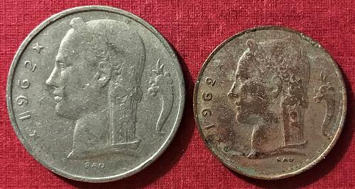 Belgium 1962 = 5 Franks (Belgie) and 1 Franc (Belgique)