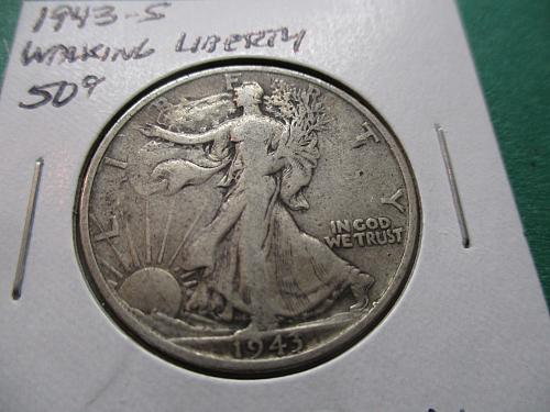 1943-S  VG10 Walking Liberty Half Dollar.  Item: 50 W43S-03.