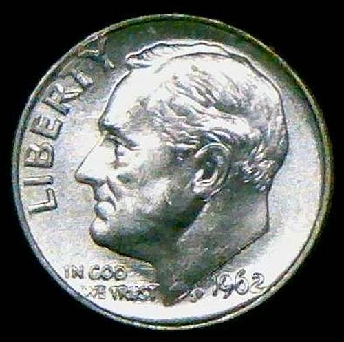1962 Roosevelt Dimes Silver Composition 90% Silver  BU   V2P6R2