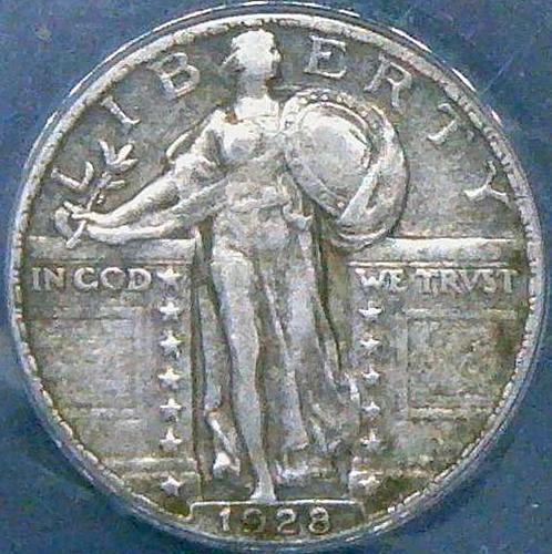 1928 Standing Liberty Quarters Type 2  VF35  4 photo's