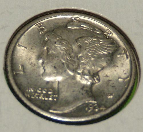 1934 Mercury Dime  AU58  #10-1934-1