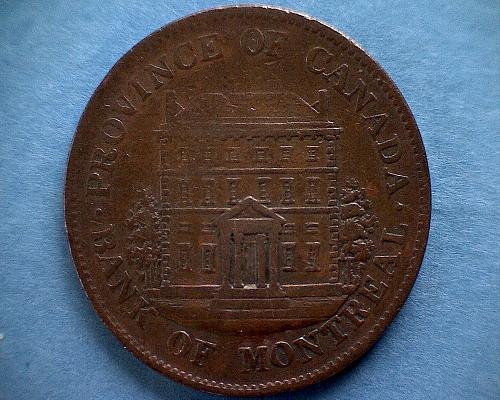 "1844 CANADA 'BANK OF MONTREAL' ""1/2 PENNY SOU"""