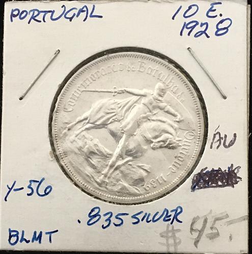 Portugal  1928  10 E. .835 Silver