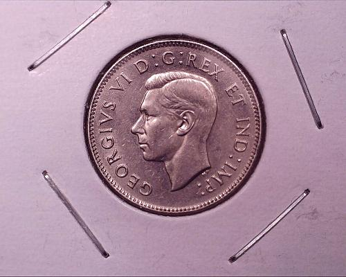1938 Canada 5 Cent George V1 Coin