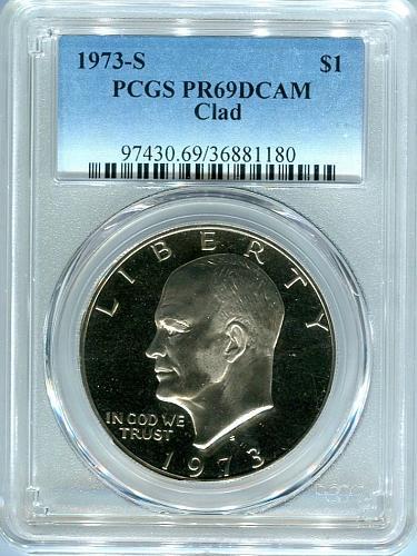 """1973 - S  Eisenhower Dollar """" CLAD """"  PCGS  PR69DCAM"""
