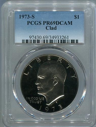 """3 - 1973 - S  Eisenhower Dollar """" CLAD """"  PCGS  PR69DCAM"""