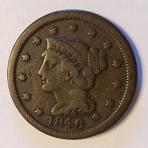 1846 P Braided Hair Liberty Head Large Cent