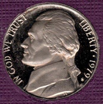 1979 S Jefferson Nickels: Type 1 - Filled S -#4a1