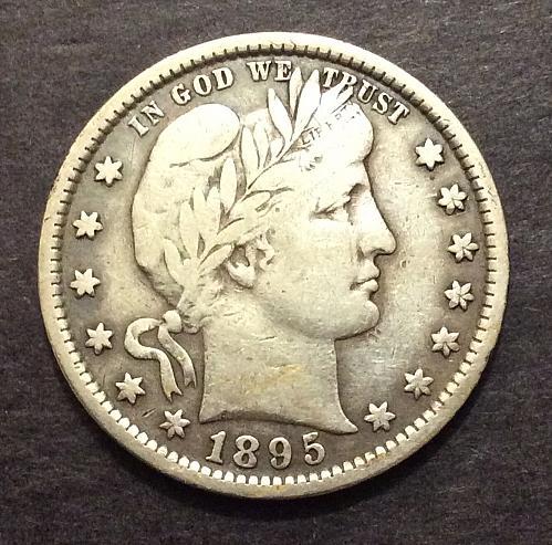 1895 P Barber Quarter, F+, see pics and description