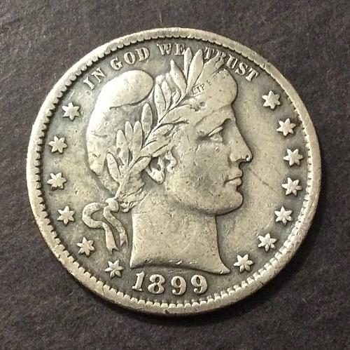 1899 P Barber Quarter, F+ imo, see pics and description (cn1)