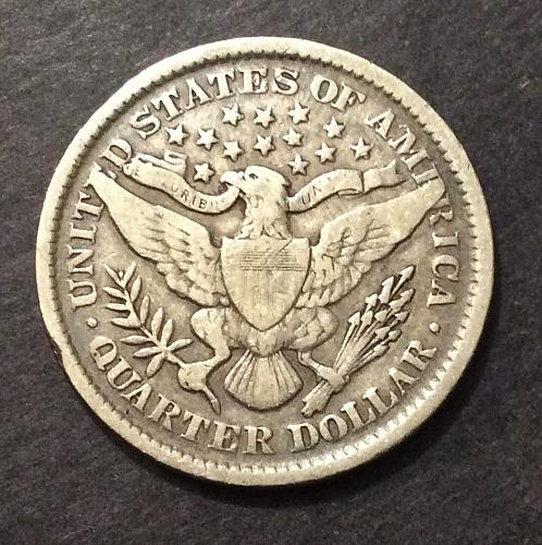 1899 P Barber Quarter, F imo, see pics and description (cn2)