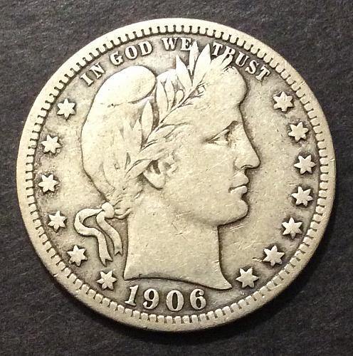 1906 D Barber Quarter, F imo, see pics and description