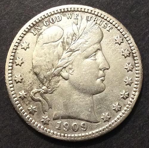 1909 P Barber Quarter, VF/XF imo, see pics and description (cn2)