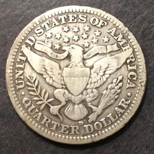 1910 D Barber Quarter, F imo, see pics and description