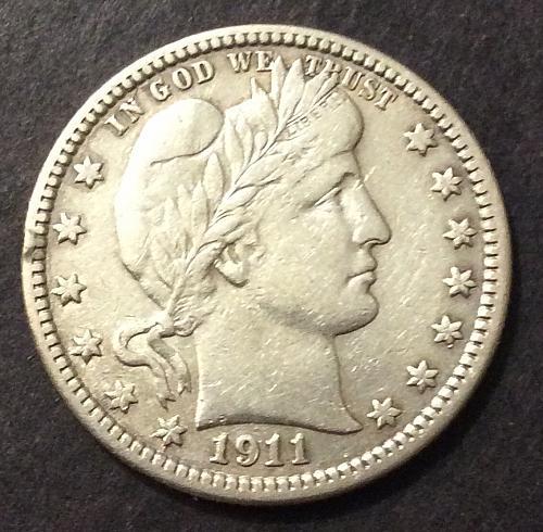 1911 P Barber Quarter, XF imo, see pics and description