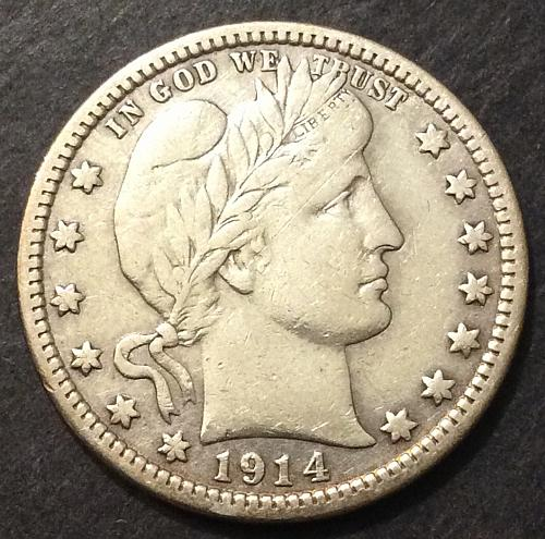 1914 P Barber Quarter, VF imo, see pics and description