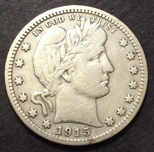 1915 D Barber Quarter, F imo, see pics and description