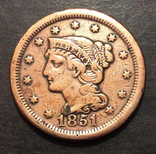 1851 Braided Hair Large Cent, VF (cn1)