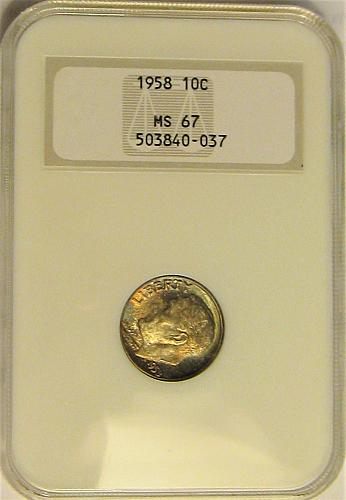1958 Roosevelt Dime NGC MS67 - OH