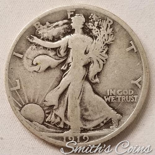 1919 D Walking Liberty Half Dollar ~ VG