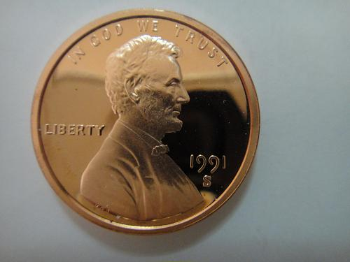 1991-S Lincoln Cent Proof-65 (GEM) RED