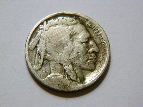 1918-D Buffalo Nickel with Die Crack Error on obverse