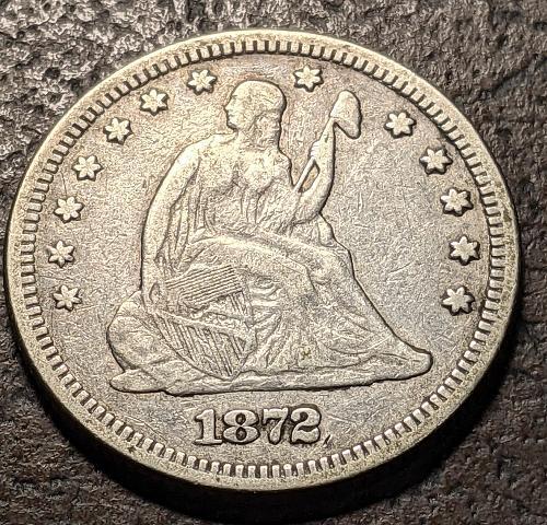 1872 FINE SEATED LIBERTY QUARTER
