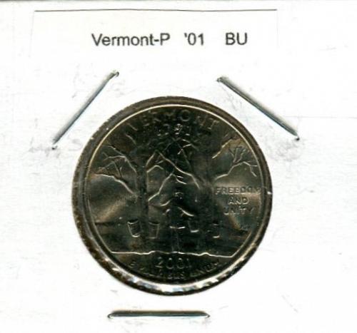 "2001 - P  Vermont Statehood Quarter  "" BU """