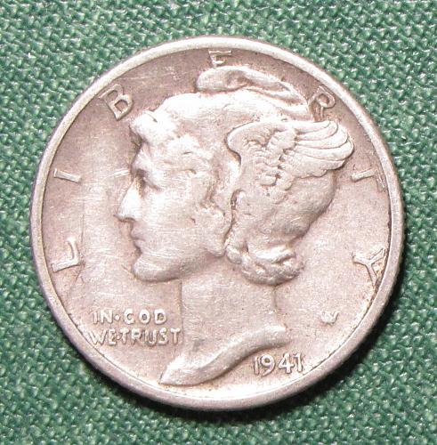 1941D Mercury Silver Dime