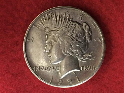 1921 Peace Dollar KEY DATE Type 1 High Relief Silver