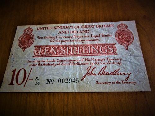 1915 10 Schillings- Bradbury- UNITED KINGDOM OF GREAT BRITAIN & IRELAND UNIFACE