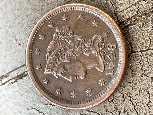 1848 Braided Hair Liberty Head Large Cent ~ VF