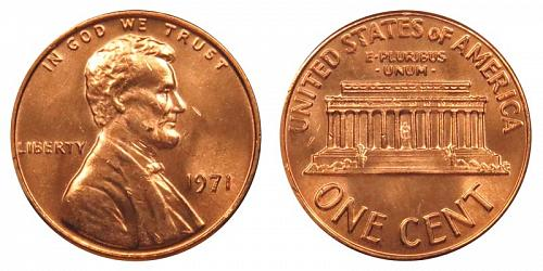 1971-P LINCOLN MEMORIAL CENT IN UNCIRCULATED CONDITION  L-10-20