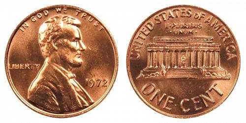 1972-P LINCOLN MEMORIAL CENT IN UNCIRCULATED CONDITION  L-10-20