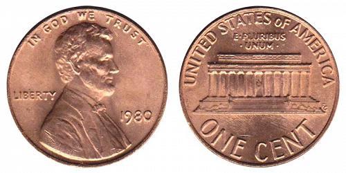 1980-P LINCOLN MEMORIAL CENT IN UNC CONDITION  L-11-20