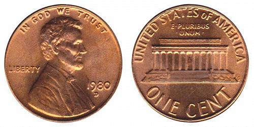 1980-D LINCOLN MEMORIAL CENT IN UNC CONDITION  L-11-20