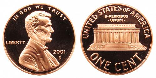 2001-S LINCOLN MEMORIAL CENT IN UNCIRCULATED PROOF CONDITION  L-11-20