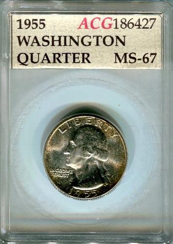 1955  Washington Quarter  ACG  MS - 67