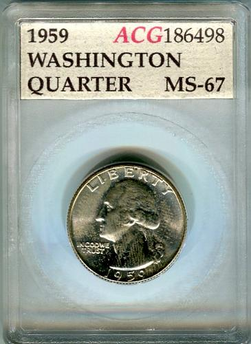 1959  Washington Quarter  ACG  MS - 67
